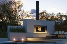 Outdoor woodfire by Escea