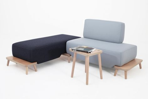 Podia is made of veneer plywood and solid natural Victorian ash with upholstery to the client's fabric specification.