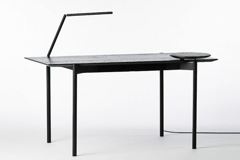 The sleek, minimalist ETO desk, designed by Tom Fereday for King Living, incorporates wireless charging and lighting.
