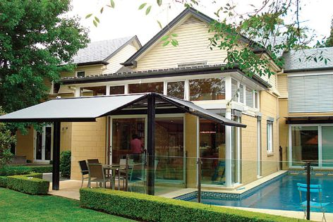 This Sunmaster Linea awning with Dickson Orchestra fabric screens up to 100% of UV rays.
