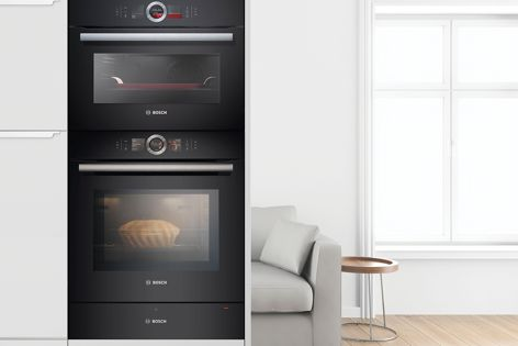 The ovens available from Bosch's new Series 8 range are made in Germany with the highest quality stainless steel and black glass.