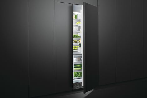 Modular vertical refrigerators and freezers from Fisher & Paykel can be completely integrated into cabinetry for a flush look.