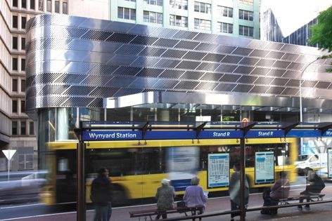 More than 1,600 m2 of perforated metal was used in the creation of Wynyard Walk and the Clarence Street station entrance at Sydney's Wynyard Station, designed by Woods Bagot.