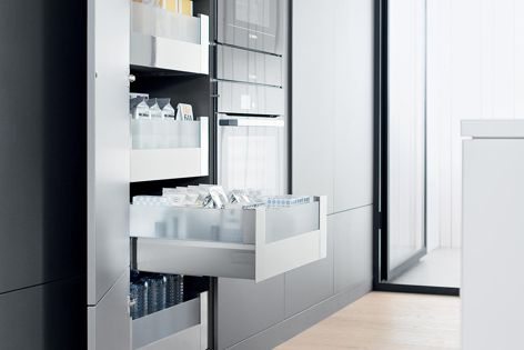 Blum's Space Tower pantry can be adapted to individual requirements, depending on how much storage space is needed.