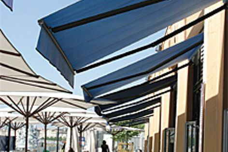 Durable, watertight and UV absorbent, Alto's FR awnings are available in 11 colours.