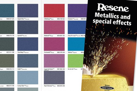 A snapshot of the Resene Metallics and Special Effects chart.