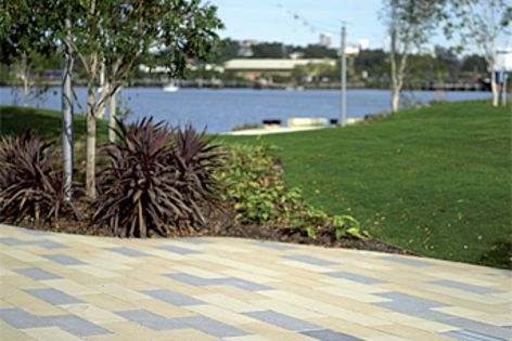 Stonevue pavers in light and dark shades were specified for the Northshore Riverside Park.