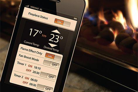 Fireplace controller smartphone app from Escea.