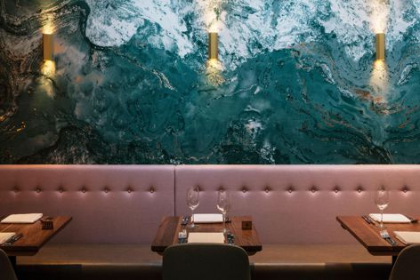 Muraspec wallcoverings were used at Felix Seafood Grill in Billericay, UK, designed by DesignLSM. Photography: James French.