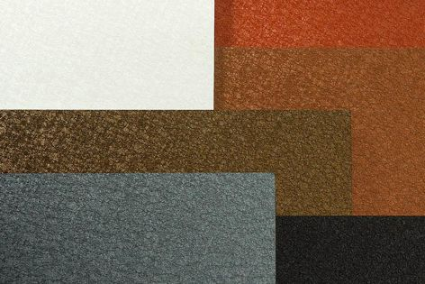 The six textured surfaces provide a matt sheen in a combination of elegant and earthy tones.