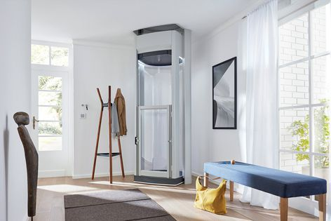 The Compact Elegance lift offers freedom and flexibility. It can take two passengers between floors in under 30 seconds.