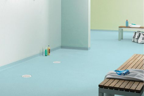 Tarkett offers a range of vinyl flooring and wall systems that don't require an additional waterproofing membrane.