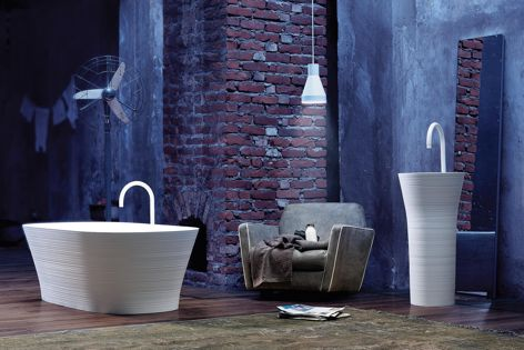 The Falper Handmade bathroomware collection was inspired by the irregular shapes of the manual processing of ceramics.