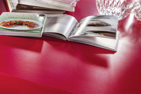 Silestone Suede is available in more than 40 colours, including Rosso Monza. Designex 834.