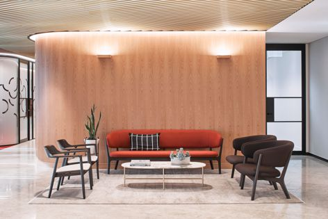 WoodWall 'Cherry' in the Crown pattern at the Yancoal office in Sydney by Hammond Studio. Photography: Terence Chin Photography.