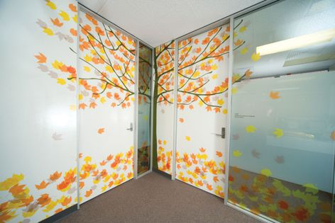 Wall and glass surfaces at the Robinson Institute in Adelaide were covered with Lateral film.