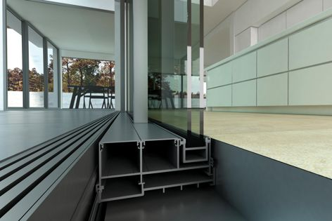 AWS's Slide Master Series 704R sliding door system creates clear glass sight lines for a stylish architectural finish.