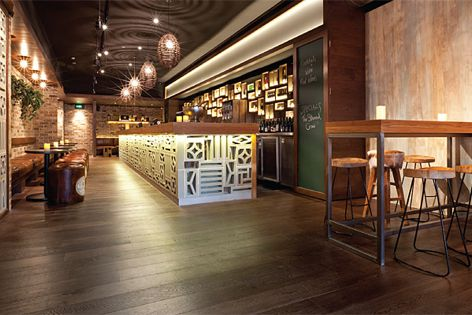 Havwoods' oak legacy brown flooring, used at bar Stoned Crow in Crows Nest, NSW by Giant Design.