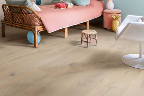 Palazzo timber flooring is available in ten unique designs, including 'Winter Storm oak extra-matt' (pictured).