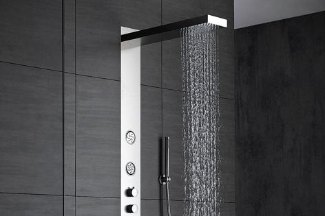 The sleek Wallpaper shower enables three functions to be used simultaneously.
