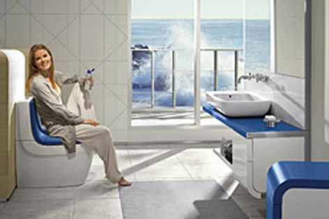 Soft Texture, a durable, cushioning surface material of Roca's colourful Khroma bathroom collection.