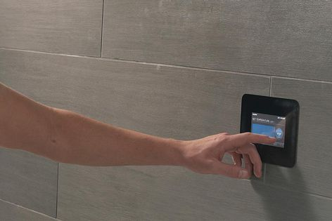 Mr Steam in-shower swipe-control touch panels allow the user to easily choose from spa experiences including aromatherapy and music.