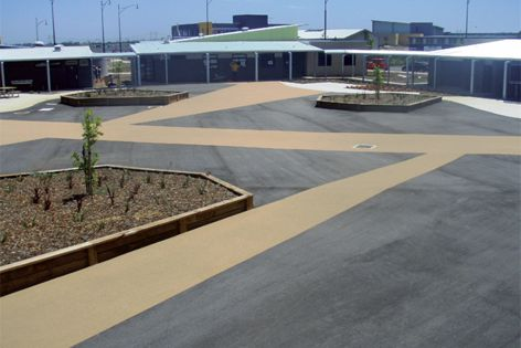 OmniGrip Deco can be installed over sound concrete or asphalt surfaces.