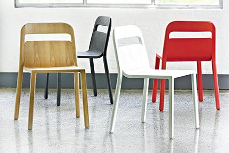 The Hollywood Chair by Ben McCarthy for Go Home is available in natural, black, white or coral red.