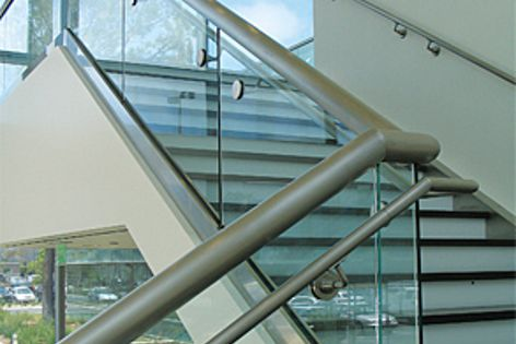 Installation times can be reduced by 50% using the CRL Dry Glaze Taper-Loc glass panel system.