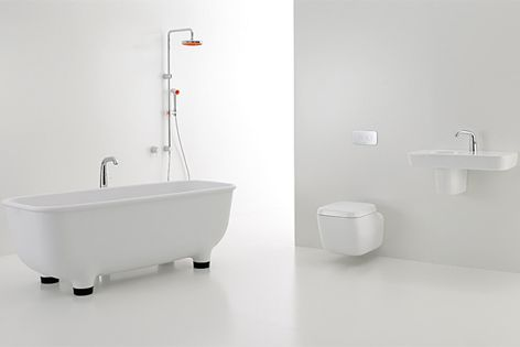 The Caroma Marc Newson Collection features 21 pieces, including baths, basins, showers and toilets.
