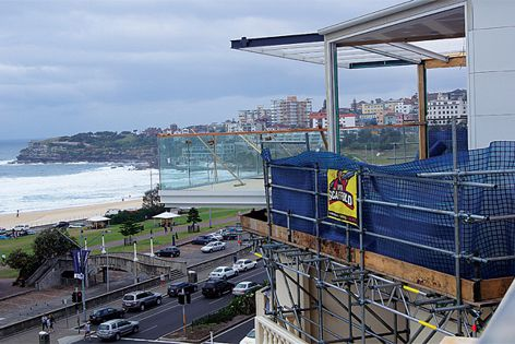 Construction of the Swiss Grand Hotel with a view to Bondi Beach.