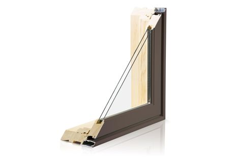 A cross-section of the Siteline Awning Window Fixed Lite, with pine timber used internally.