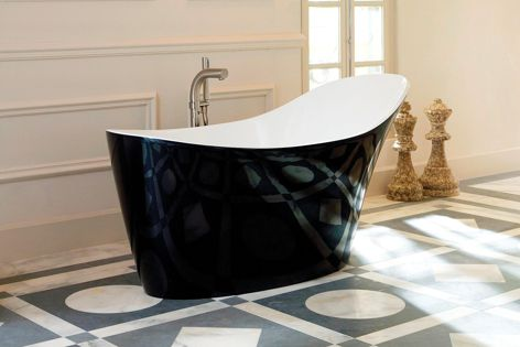 The beautiful Victoria & Albert Amalfi bath with a custom painted black gloss finish.
