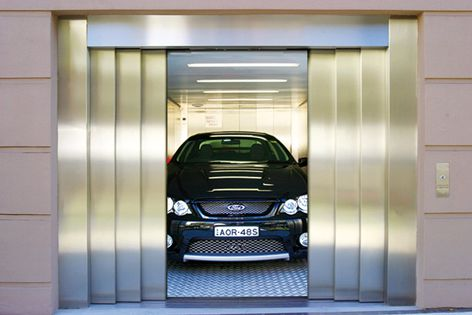 A convenient and cost-effective way to move vehicles throughout a building without ramps.