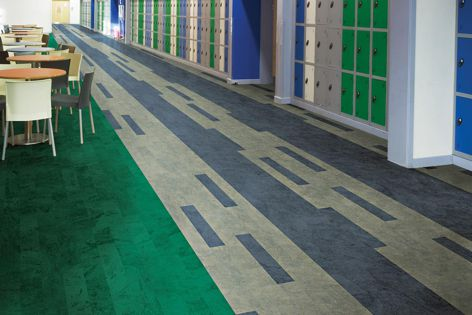 Available in 16 colours, Teles high-resilience rubber flooring can be used to create unique designs.
