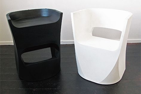 "Interstudio's Tipsy ""chairool"" was designed by Tim Collins, and can function as a stool or a chair."