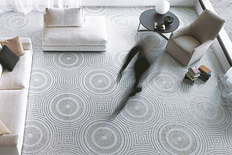 Tesserae in the NeoGlass floor mosaic collection come in 11 colours and three different shapes.