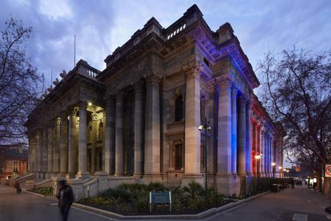 Ligman luminaires from Efficient Lighting Systems were specified for Parliament House in Adelaide CBD. Photography: Glenn Hester.