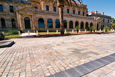 Parliament Place in Perth features UrbanStone granite paving.