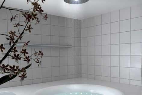 The Zucchetti Rain shower's 400 nozzles provide a variety of spray effects.
