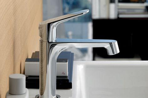 Antonio Citterio designed Hansgrohe's slimline Axor Citterio M basin mixer for modern bathrooms.