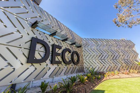 More than 200 chevron panels were finished in DecoUltra ZD to create a showstopping facade on DECO's new display centre.