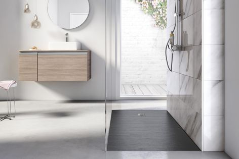 Stylish and minimalist, Roca's Cyprus Stonex shower floor is available in four finishes and sizes, with customization options available.