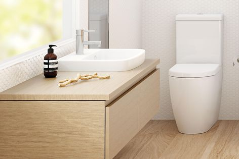 The Caroma Urbane toilets and basins feature elegant curves and a minimalist style.