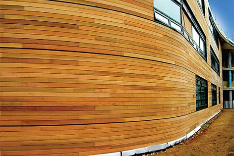 The warmth and character of Western Red Cedar is ideal for exteriors of residential or commercial projects.