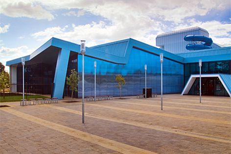 Bondor's Equitilt panels are used around the perimeter of the facade. The Aquadome in Elizabeth, SA.