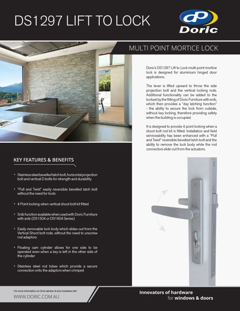 DS1297 Lift to Lock doorlock by Doric
